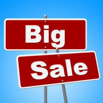Free Stock Photo of Big Sale Signs Indicates Offer Save And Promotion