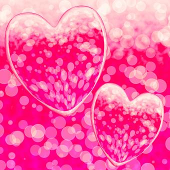 Free Stock Photo of Pink Hearts Design On A Bokeh Background Showing Romance And Romantic