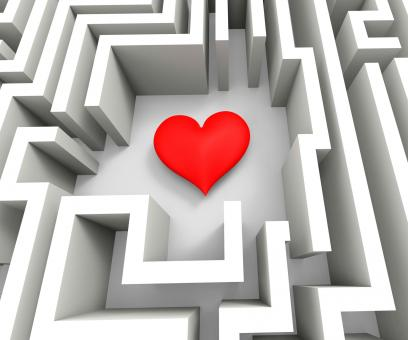 Free Stock Photo of Finding Love Or Girlfriend Shows Heart In Maze