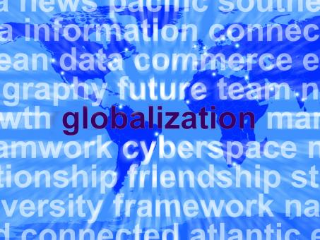 Free Stock Photo of Globalization Word On Map Showing International Business