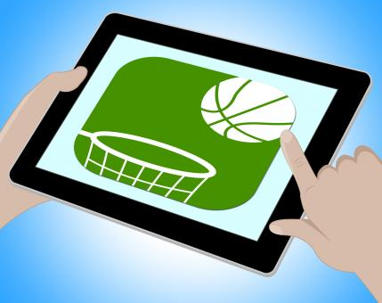 Free Stock Photo of Basketball Online Represents Computing Tablets And Www
