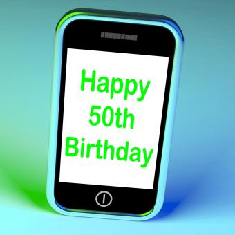 Free Stock Photo of Happy 50th Birthday Smartphone Means Turning Fifty