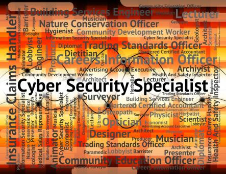 Free Stock Photo of Cyber Security Specialist Shows World Wide Web And Employment