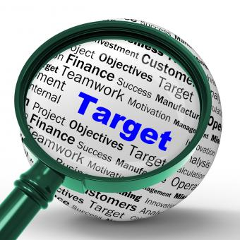 Free Stock Photo of Target Magnifier Definition Means Business Goals And Objectives