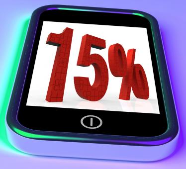 Free Stock Photo of 15 On Smartphone Showing Savings, Price Reduction And Discounts