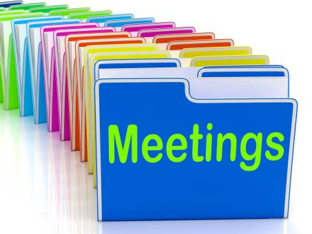 Free Stock Photo of Meetings Folders Means Talk Discussion Or Conference