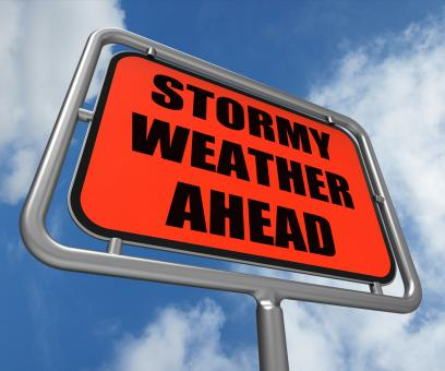 Free Stock Photo of Stormy Weather Ahead Sign Shows Storm Warning or Danger