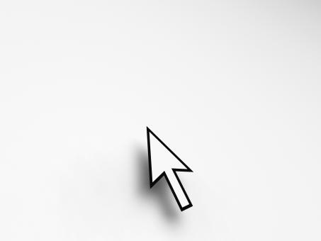 Free Stock Photo of Mouse Pointer On Blank Background Shows Empty Copyspace Website