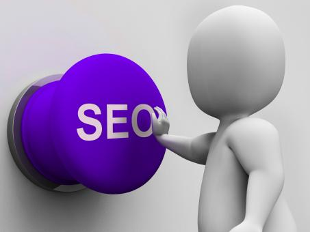 Free Stock Photo of SEO Button Shows Internet Marketing In Search Results