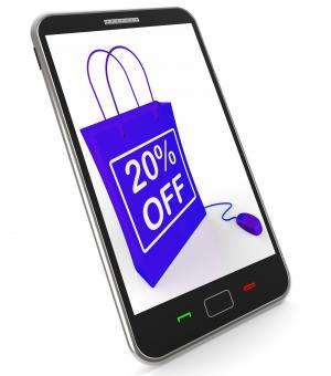 Free Stock Photo of Twenty Percent Off Phone Shows Online Sales and Discounts