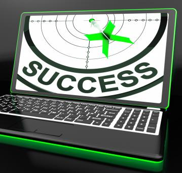 Free Stock Photo of Success On Laptop Showing Successful Progress
