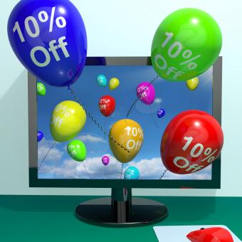 Free Stock Photo of 10 Off Balloons From Computer Showing Sale Discount Of Ten Percent Onl
