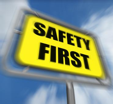 Free Stock Photo of Safety First Sign Displays Prevention Preparedness and Security
