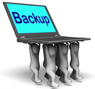 Free Stock Photo of Backup Character Laptop Shows Archive Back Up And Storing