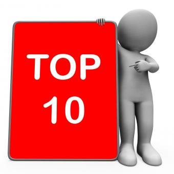 Free Stock Photo of Top Ten Character Tablet Shows Special Top Ranking