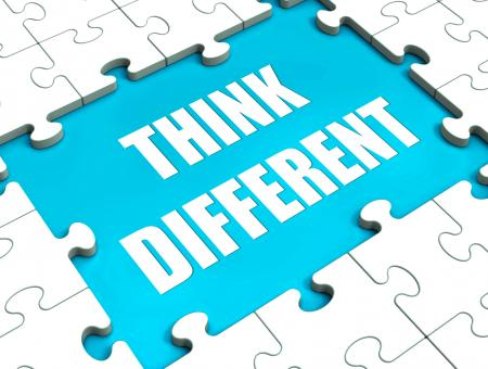 Free Stock Photo of Think Different Puzzle Shows Thinking Outside the Box
