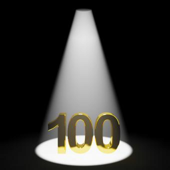 Free Stock Photo of Gold 100th Or One Hundred 3d Number Representing Anniversary Or Birthd