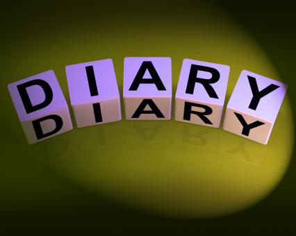 Free Stock Photo of Diary Dice Mean Journal Blog or Autobiographical Record