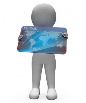 Free Stock Photo of Debit Card Shows Credit Cards And Bank 3d Rendering
