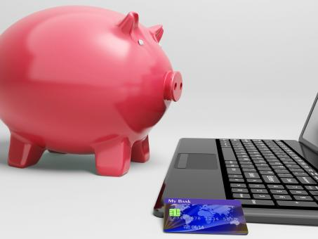 Free Stock Photo of Piggy At Computer Shows Banking On Laptop