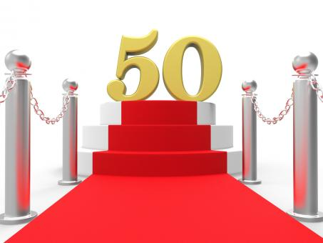 Free Stock Photo of Golden Fifty On Red Carpet Shows Fiftieth Cinema Anniversary Or Rememb