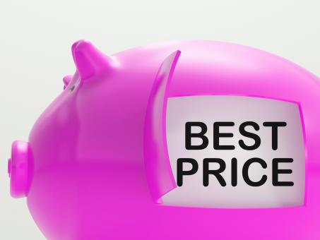Free Stock Photo of Best Price Piggy Bank Shows Great Savings