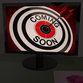 Free Stock Photo of Coming Soon On Monitor Shows Arriving Promotions