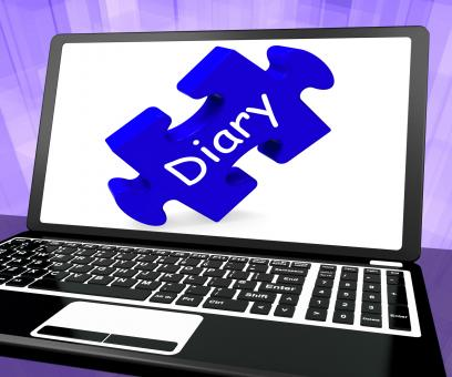 Free Stock Photo of Diary Laptop Shows Web Planning Or Scheduling