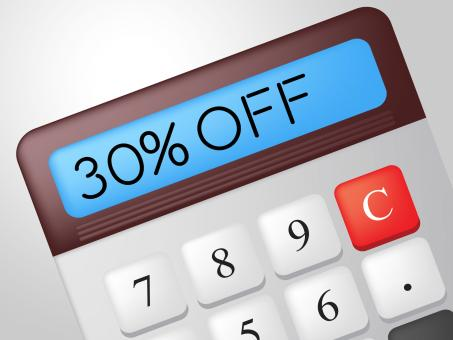 Free Stock Photo of Thirty Percent Off Means Discounts Clearance And Calculate