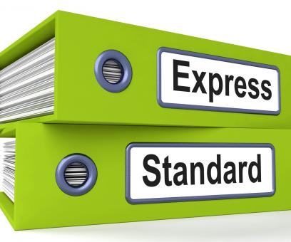 Free Stock Photo of Express Standard Folders Mean Fast Or Regular Delivery