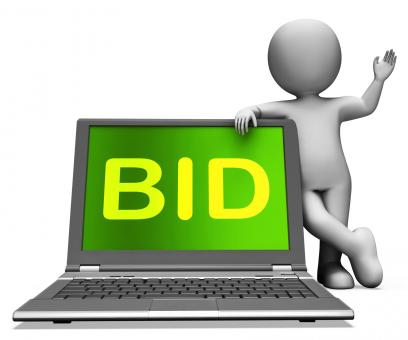 Free Stock Photo of Bid Laptop And Character Shows Bidder Bidding Or Auctions Online