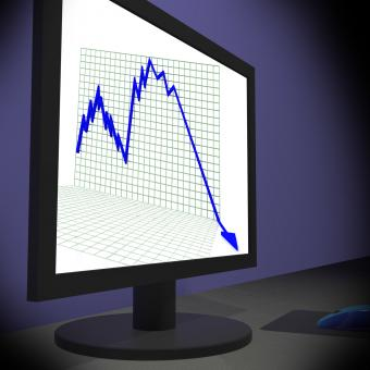 Free Stock Photo of Arrow Falling On Monitors Showing Bad Statistics