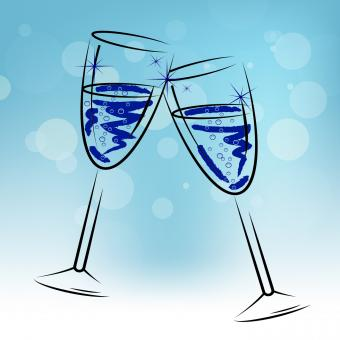 Free Stock Photo of Champagne Glasses Means Beverage Fun And Congratulations