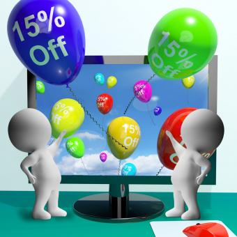 Free Stock Photo of Balloons From Computer Showing Sale Discount Of Fifteen Percent