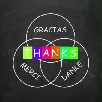 Free Stock Photo of Gracias Merci and Danke Mean Thanks in Foreign Languages