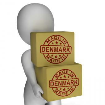 Free Stock Photo of Made In Denmark Stamp On Boxes Shows Danish Products