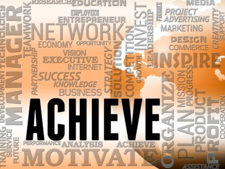 Free Stock Photo of Achieve Words Shows Success Attainment And Achieving