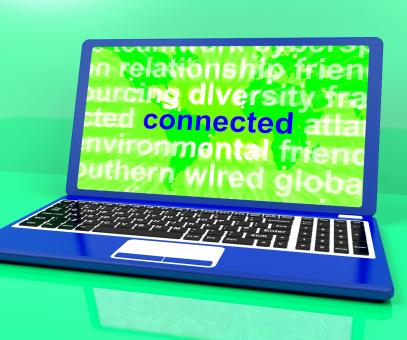 Free Stock Photo of Connected Definition On Laptop Shows Online