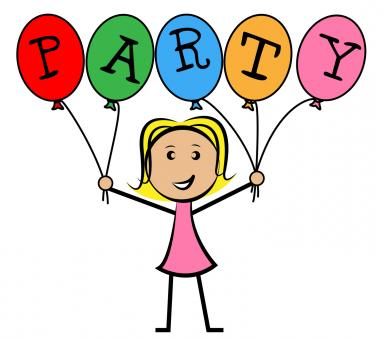 Free Stock Photo of Party Balloons Represents Young Woman And Kids