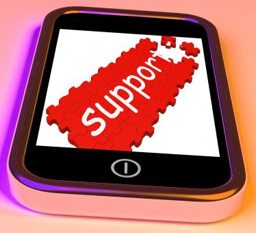 Free Stock Photo of Support On Smartphone Showing Cellphones Customer Service