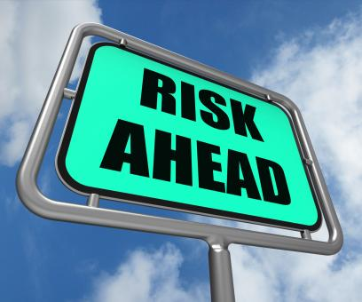 Free Stock Photo of Risk Ahead Sign Shows Dangerous Unstable and Insecure Warning