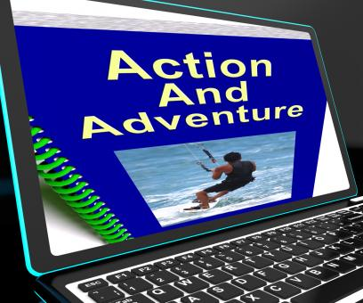 Free Stock Photo of Action And Adventure On Laptop Shows Expeditions