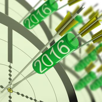 Free Stock Photo of 2016 Accurate Dart Target Shows Successful Future