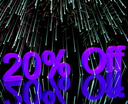 Free Stock Photo of 20 Off With Fireworks Showing Sale Discount Of Twenty Percent