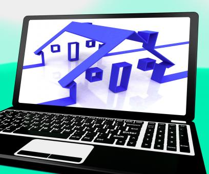 Free Stock Photo of Houses On Laptop Shows Online Real Estates