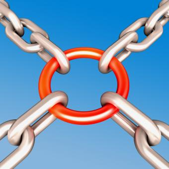 Free Stock Photo of Red Chain Link Shows Strength Security
