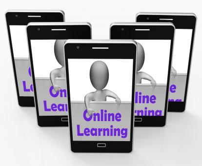 Free Stock Photo of Online Learning Sign Phone Means E-Learning And Internet Courses