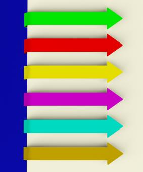 Free Stock Photo of Six Multicolored Long Arrow Tabs Over Paper For Menu List Or Notes