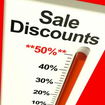 Free Stock Photo of Fifty Percent Sale Discounts Showing Bargain Closeout Selloff