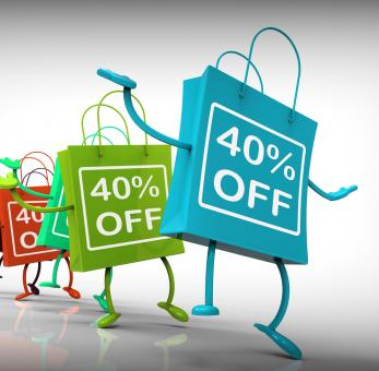 Free Stock Photo of Forty-Percent Off Bags Show Sales and 40 Discounts